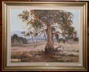 Sale 8015A - Lot 7 - ROBERT WILSON - Sheep Grazing amongst the Large Gum Jindabyne 60 x 75 cm