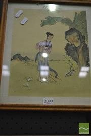 Sale 8214 - Lot 2099 - Chinese School (XX) Lady In The Garden watercolour & gouache on silk, 28 x 23cm, unsigned
