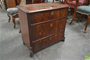 Sale 8267 - Lot 1005 - Small 19th Century Continental Mahogany Chest of Three Drawers, with cantered corners & on later block feet