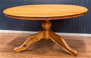 Sale 8287A - Lot 37 - A large round South African hardwood dining table with lazy Susan. (Matching chairs auctioned separately in lots numbers 3 & 4). 78c...
