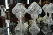 Sale 8311 - Lot 57 - Crystal Parlour Lamp with Another (chip to rim)