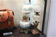 Sale 8324 - Lot 97 - Handpainted Glass Kerosene Lamp with 2 Others