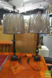 Sale 8328 - Lot 1017 - Pair of Brown on Brass Table Lamps (5732)