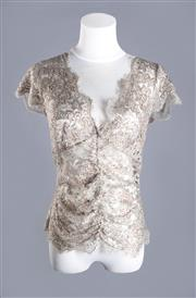 Sale 8493A - Lot 99 - A Collette Dinnigan silver lace and sequin top, AU size M