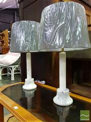 Sale 8550 - Lot 1230 - Pair of Italian White Marble Base Table Lamps (2100)