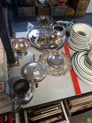 Sale 8563T - Lot 2474 - Group of Plated Wares incl. Platters, Trinket Box, Jug, Vase, etc