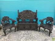 Sale 8649R - Lot 175 - Ornately Detailed Three Piece Oriental Setting incl. Settee with Storage to base (A/F to armrests) with Two Armchairs