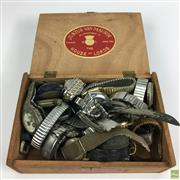 Sale 8648A - Lot 172 - Cigar Box of Wrist & Pocket Watches as found