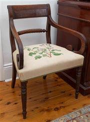 Sale 8792 - Lot 1084A - An antique English mahogany Georgian elbow chair c. 1820, The reeded tablet bar back on reeded and scrolling arms, The lower curved...