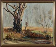 Sale 8818A - Lot 48 - BBurget(?)DRI LandscapeDR oil on canvas on boardR 49 x 59cmR signed and dated lower left 68