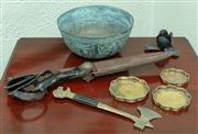 Sale 8881H - Lot 94 - A group of metalwares including Chinese bowl and dishes plus vintage haberdashery scissors and a table axe