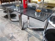 Sale 8908 - Lot 1051 - Chrome Based Coffee Table with Smokey Glass Top