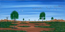 Sale 8945 - Lot 2016 - Doug Frith (1962 - ) - The Outback Lake 40 x 78 cm (total: 40 x 78 x 2 cm)