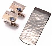 Sale 8937 - Lot 480 - STERLING SILVER GEMSET CUFFLINKS AND MONEY CLIP; plain and textured rectangular plaques each collet set with an oval cut kyanite to...