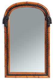 Sale 8972H - Lot 98 - Quality arch form wall mirror with rope twist and bamboo effect detail, height 98cm, width 59cm