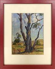 Sale 8995 - Lot 2007 - Anton Riebe (1905-1986) - Gum Tree and Country Valley 24 x 18 cm (frame: 39 x 31 x 3 cm)