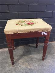 Sale 9017 - Lot 1070 - Tapestry Upholstered Top Timber Stool (H46 x W42 x D31cm)