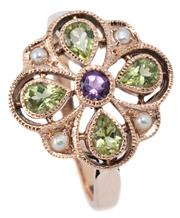 Sale 9046 - Lot 396 - A SUFFRAGETTE INSPIRED GEMSET RING; quatrefoil form millegrain set in 9ct rose gold with a round cut amethyst surrounded by 4 pear c...