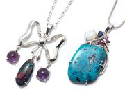 Sale 9046 - Lot 320 - TWO SILVER OPAL AND GEMSET PENDANT NECKLACES; a bow pendant suspending an opal triplet and 2 cabochon amethysts, length 55mm, on a 4...