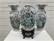 Sale 9059 - Lot 1064 - Pair of Chinese Crackle Glazed Vases together with a Matched Egg on Timber Stand (H:32cm)