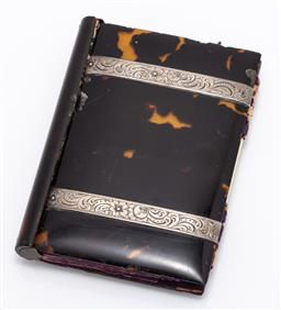 Sale 9180E - Lot 27 - A tortoise shell and silver framed purse, some damages