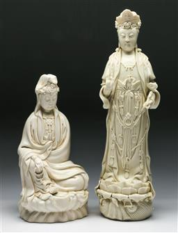 Sale 9144 - Lot 69 - A Blanc de Chine figure of Guanyin (H:42cm) together with a seated example (H:30cm)