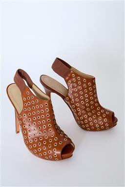 Sale 9095F - Lot 13 - A pair of Alexander McQueen brown leather studded sling back peep toe heels, size 39.