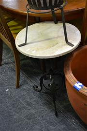 Sale 8035 - Lot 1075 - Pair of Circular Marble Top Iron Base Tables