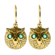 Sale 8065 - Lot 308 - A PAIR OF 9CT GOLD OWL MOTIF EARRINGS; each with emerald eyes surrounded by round brilliant cut diamonds.