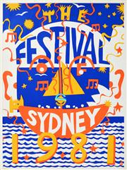 Sale 8256S - Lot 24 - Martin Sharp (1942 - 2013) - Festival of Sydney, 1981 98 x 72cm
