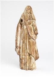 Sale 8518A - Lot 100 - An early 19th century timber Santos figure of the virgin Mary. Ht: 27cm