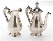 Sale 8546 - Lot 69 - Continental 800 silver baluster form coffee pot and milk jug with ivory insulators, pot 189g, milk jug 132g, taller H 14cm, marked V...