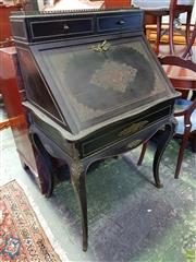 Sale 8598 - Lot 1074 - Napoleon III Rosewood & Ebonised Boulle Style Bureau, with brass gallery, two drawers and fitted interior, on cabriole legs mounted...