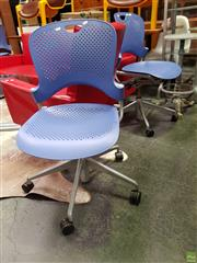 Sale 8629 - Lot 1062 - Set of Four Blue Herman Miller Office Chairs -