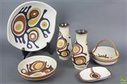 Sale 8626 - Lot 73 - Hand Painted Israeli 1970s Ceramics Incl Dishes, Handled Bowls And Dishes (6)