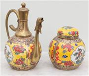 Sale 8653A - Lot 94 - A famille jaune teapot and ginger jar with brass applications, H of tea pot 20cm