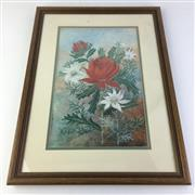 Sale 8793 - Lot 56 - Waratah and Flannel Flowers by HA Foott, gouache, signed & dated 1913, 34 x 20cm