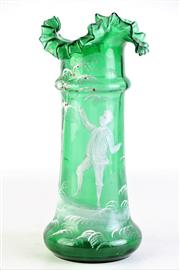 Sale 8890 - Lot 10 - Mary Gregory Green Vase Featuring Boy H: 30cm