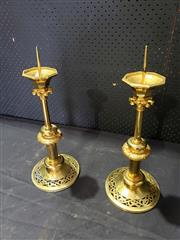 Sale 8976 - Lot 1096 - Pair of Gilt Brass Ecclesiastical Picket Candlesticks, with foliate rings and pierced floral scroll base (h: 38cm). Provenance: from...
