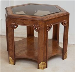Sale 9097H - Lot 71 - A pair of hexagonal burr yew wood bevelled glass top lamp tables with brass embellishment, Height 54cm x Width 62cm