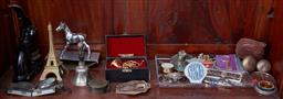 Sale 9103H - Lot 34 - A shelf lot of assorted items including compass, desk wares, badges, a miniature French horn etc.