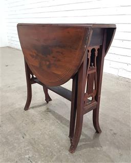 Sale 9162 - Lot 1028 - Small Late Victorian mahogany Sutherland table, forming an oval top, with lyre end supports & splayed feet, having square gatelegs (...