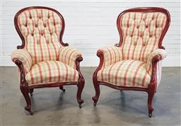 Sale 9215 - Lot 1059 - Two Victorian Mahogany Gentlemans Armchairs, with balloon backs upholstered in buttoned Colefax & Fowler Thurloe Check & raised on...