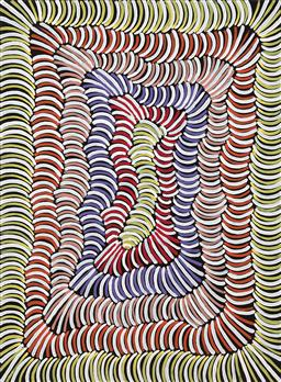 Sale 9239A - Lot 5088 - VIOLET PETYARRE (1946 - ) Awelye, 2010 acrylic on canvas 120 x 89 cm (stretched and ready to hang) certificate of authenticity