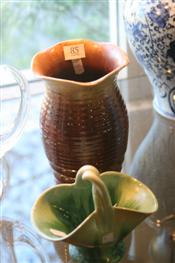 Sale 7874 - Lot 85 - Remued Brown & Yellow Glaze Vase & a Remued Basket