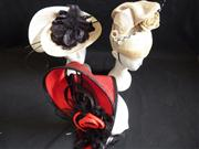 Sale 7982B - Lot 143 - Three straw fascinators of various colours