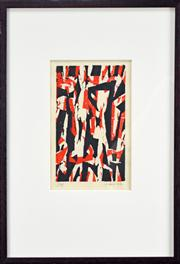 Sale 8019A - Lot 43 - Henry Mulholland (1962 -) - Untitled (Red Black) 21.5 x 13.5cm