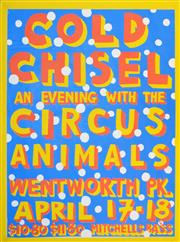 Sale 8256S - Lot 25 - Martin Sharp (1942 - 2013) - Cold Chisel (An Evening with Circus Animals, Wentworth Pk) 96 x 71.5cm