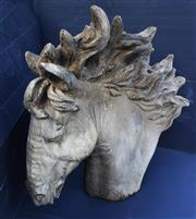 Sale 8312A - Lot 9 - A large cast stone head of a horse gate post finial garden statue, size 55 cm x 60 cm tall