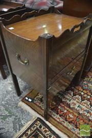 Sale 8335 - Lot 1031 - George III Mahogany Commode, with shaped gallery and pierced handles, hinged cover & slide out faux drawer (lacking fitting)